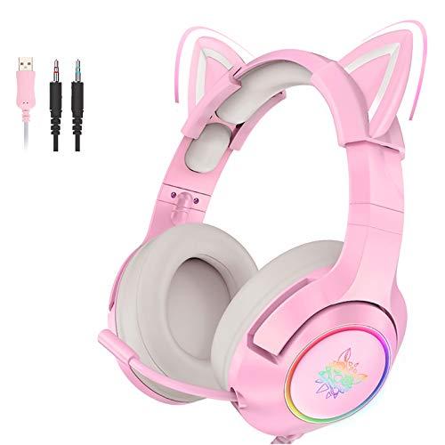 Pink Gaming Headset Katzenohren mit Mikrofon,...