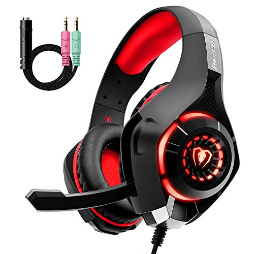 Gaming Headset für PS4 PS5 PC Xbox One, LED...