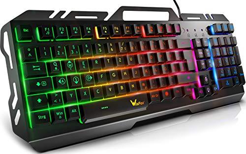 Gaming Tastatur, WisFox Bunte Rainbow LED...